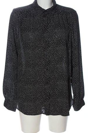 H&M Langarmhemd schwarz-weiß Allover-Druck Business-Look