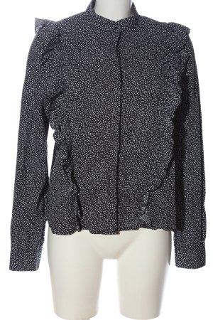 H&M Langarmhemd schwarz-weiß Allover-Druck Elegant