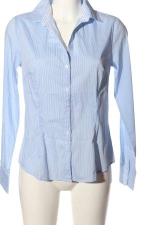 H&M Langarmhemd weiß-blau Allover-Druck Business-Look