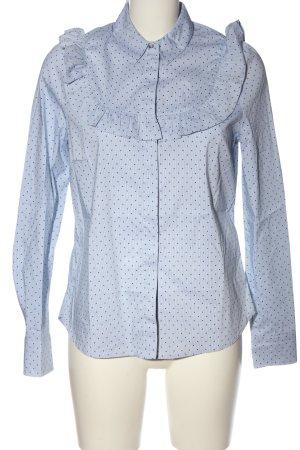 H&M Langarmhemd weiß-blau Punktemuster Business-Look