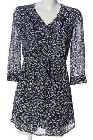 H&M Langarmkleid schwarz-weiß Allover-Druck Casual-Look