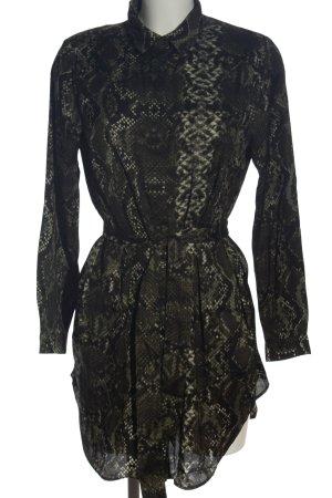 H&M Langarmkleid khaki-schwarz Allover-Druck Elegant