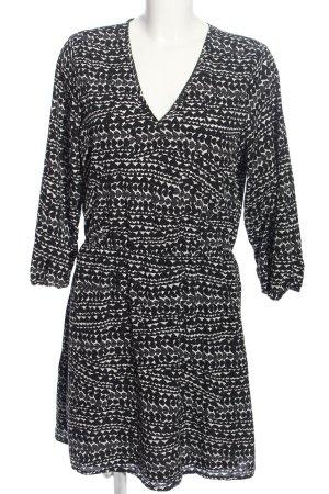 H&M Langarmkleid schwarz-weiß Allover-Druck Business-Look