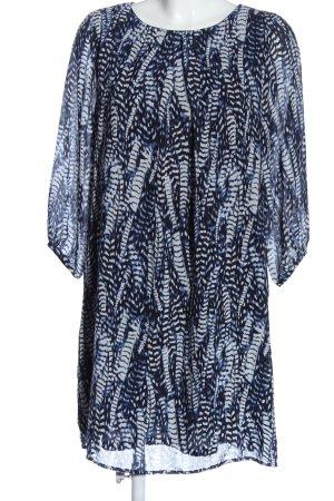 H&M Langarmkleid blau-weiß abstraktes Muster Casual-Look