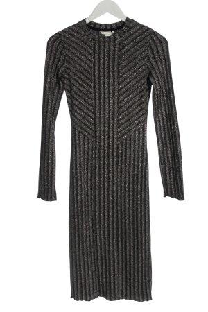 H&M Langarmkleid schwarz-silberfarben Streifenmuster Elegant