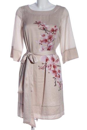H&M Langarmkleid wollweiß-pink Blumenmuster Elegant