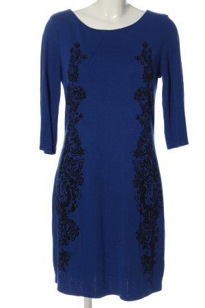 H&M Langarmkleid blau-schwarz Motivdruck Casual-Look