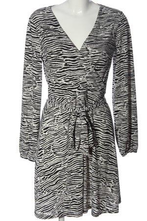 H&M Langarmkleid weiß-schwarz Allover-Druck Elegant