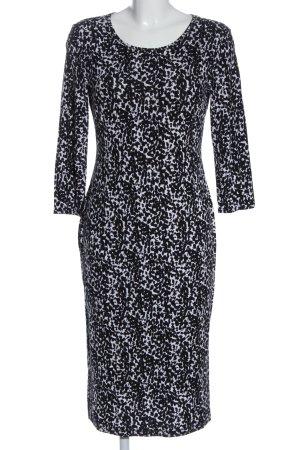 H&M Langarmkleid weiß-schwarz abstraktes Muster Elegant