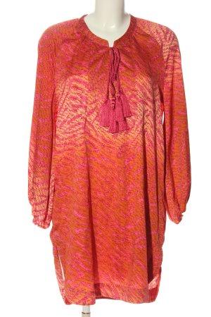 H&M Langarmkleid rot-pink Allover-Druck Casual-Look