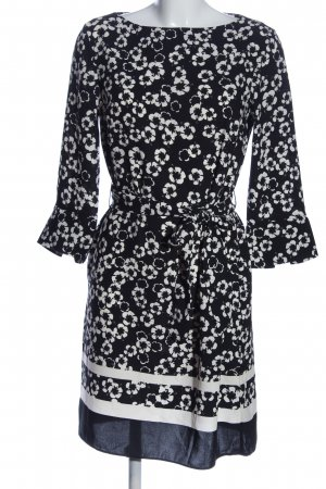 H&M Langarmkleid schwarz-weiß Blumenmuster Casual-Look