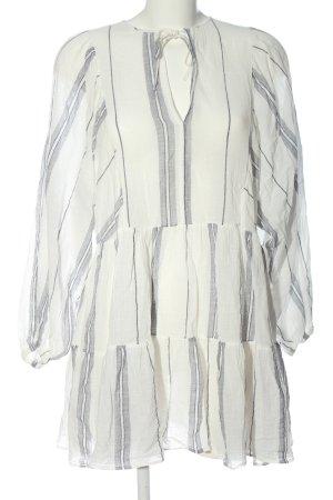 H&M Langarmkleid weiß Streifenmuster Elegant