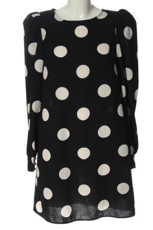 H&M Langarmkleid schwarz-weiß Punktemuster Elegant