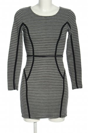 H&M Langarmkleid schwarz-silberfarben Streifenmuster Casual-Look