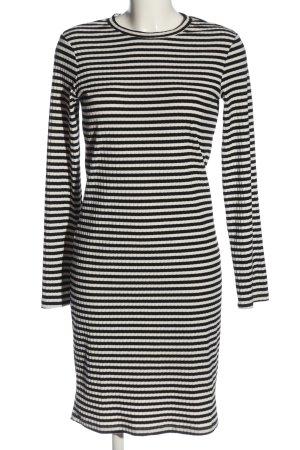 H&M Langarmkleid schwarz-wollweiß Streifenmuster Casual-Look