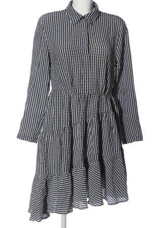H&M Langarmkleid weiß-schwarz Allover-Druck Casual-Look