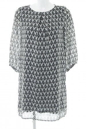 H&M A-Linien Kleid schwarz-hellgrau Allover-Druck Casual-Look