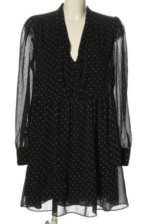 H&M Langarmkleid schwarz-wollweiß Allover-Druck Elegant