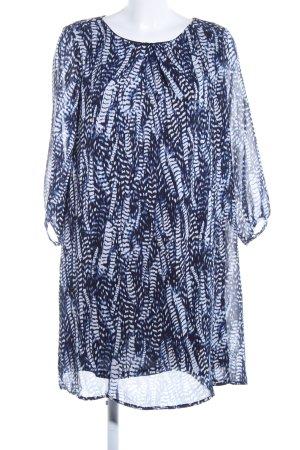 H&M Langarmkleid blau-weiß abstraktes Muster Business-Look