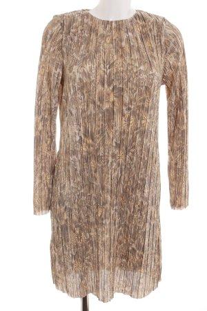 H&M Langarmkleid braun-creme Blumenmuster Casual-Look