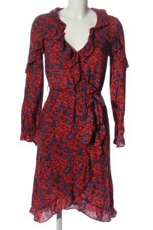 H&M Langarmkleid rot-blau Allover-Druck Elegant