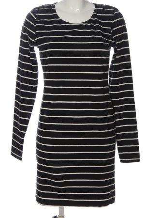 H&M Langarmkleid schwarz-weiß Streifenmuster Casual-Look