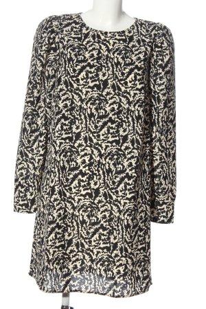 H&M Langarmkleid schwarz-creme abstraktes Muster Casual-Look