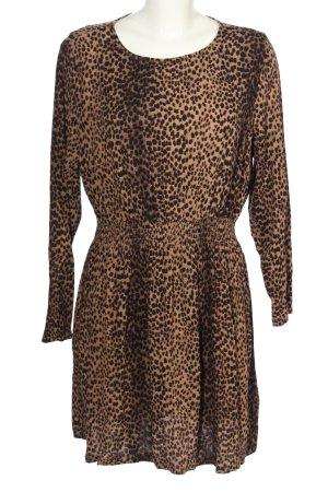 H&M Abito a maniche lunghe marrone-nero stampa integrale stile casual
