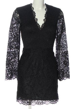 H&M Langarmkleid schwarz Webmuster Elegant