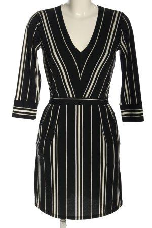 H&M Langarmkleid schwarz-wollweiß Streifenmuster Business-Look