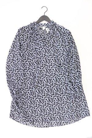 H&M Langarmkleid Größe 42 mit Blumenmuster blau aus Polyester
