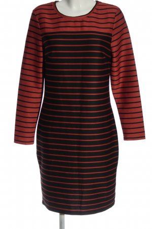 H&M Langarmkleid rot-schwarz Streifenmuster Casual-Look