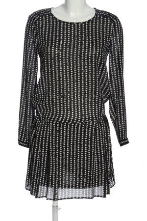 H&M Langarmkleid schwarz-weiß abstraktes Muster Casual-Look