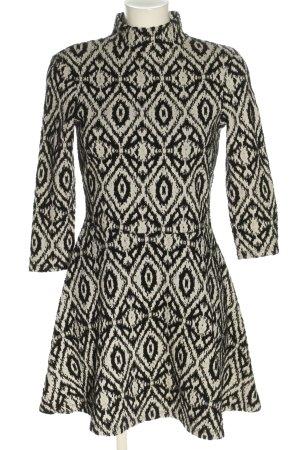 H&M Langarmkleid weiß-schwarz abstraktes Muster Casual-Look