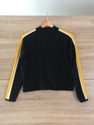 H&M Langarmshirt mit hohem Kragen, gelb/weiße Streifen, schwarz