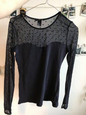 H&M Camisa de malla azul oscuro Algodón