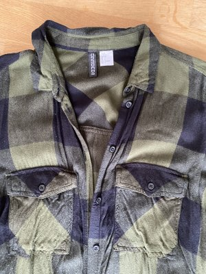 H&M Divided Flannel Shirt black-dark green