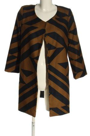 H&M Chaqueta larga marrón-azul estampado repetido sobre toda la superficie