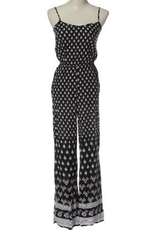 H&M Langer Jumpsuit schwarz-weiß Allover-Druck Casual-Look