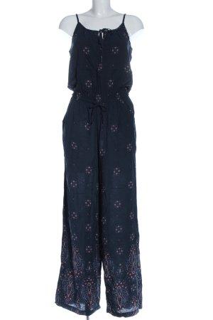 H&M Langer Jumpsuit blau Blumenmuster Casual-Look