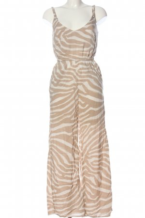 H&M Langer Jumpsuit nude-weiß Allover-Druck Casual-Look