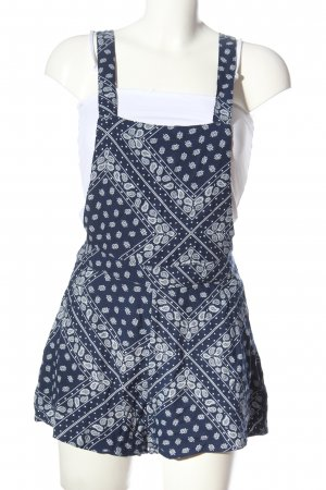 H&M Dungarees blue-white allover print casual look