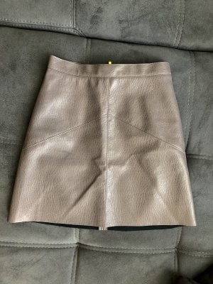 H&M Spódnica z imitacji skóry szaro-brązowy-taupe