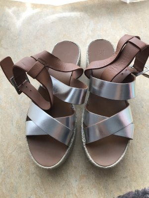 H&M Espadrille Sandals brown-silver-colored