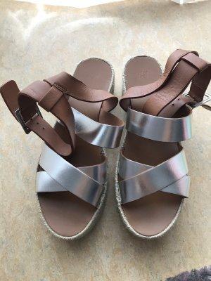 H&M Alpargatas marrón-color plata
