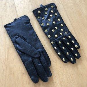 H&M Lederhandschuhe Nieten Gold schwarz Gr S Leder neu