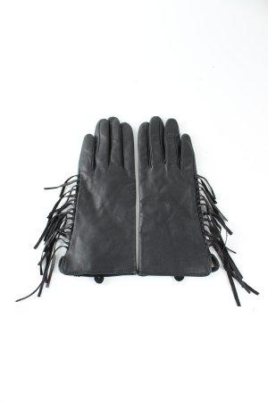 H&M Guantes de cuero negro estilo «business»
