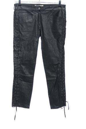 H&M Leren broek zwart wetlook