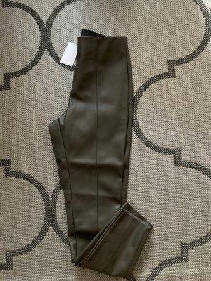 H&M Lederhose  Hose Jeggings khaki