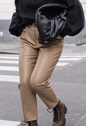 H&M Pantalón de cuero beige-camel